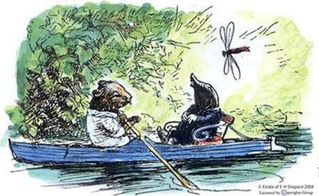 """This day was only the first of many similar ones for the emancipated Mole, each of them longer and fuller of interest as the ripening summer moved onward. He learned to swim and to row, and entered into the joy of running water; and with his ear to the reed stems he caught, at intervals, something of what the wind went whispering so constantly among them."" - The Wind in the Willows, by Kenneth Grahame, Illustration by E.H. Shepard"